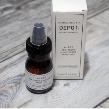 Emollient oil for beard before shaving, Depot 403, 30 ml